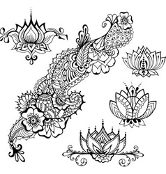 Mehndy flowers tatoo templates vector