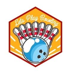Color vintage bowling emblem vector image