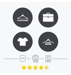 Cloakroom signs hanger wardrobe icons vector