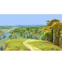 Autumn forest landscape vector