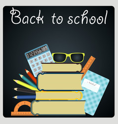 Back to school background black desk with school vector