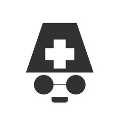 Black icon on white background doctors face vector
