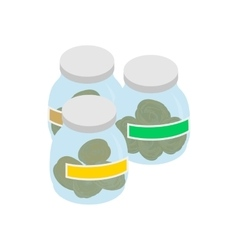 Bottles with buds of medical marijuana icon vector