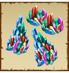 Colored crystals and collection of precious stones vector