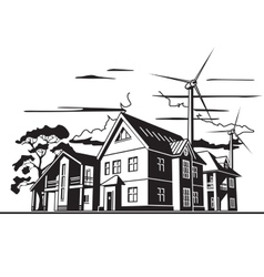 country houses alternative energy vector image