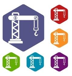 Crane icons set vector