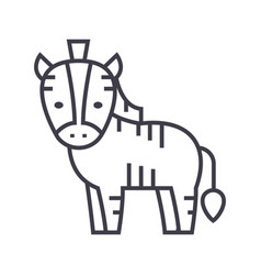 cute zebra line icon sign on vector image