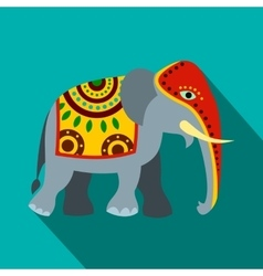 Decorated elephant icon flat style vector