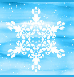 Decorative snowflake on watercolour background vector