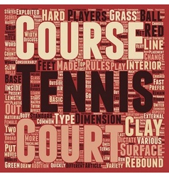 Different type of tennis courts text background vector