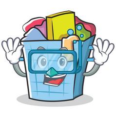 Diving laundry basket character cartoon vector