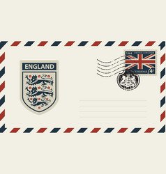 envelope with coat of arms of england and uk flag vector image vector image