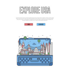 explore usa poster with open suitcase vector image vector image
