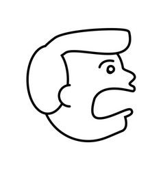 Face guy angry outline vector