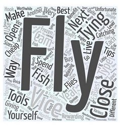 Fly tying tips and tools word cloud concept vector