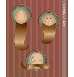 hairstyle vintage set in frames vector image vector image
