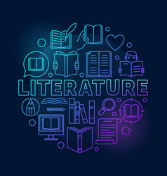 literature round blue vector image