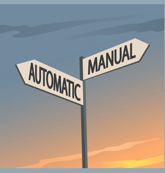 Manual or automatic indication sign vector