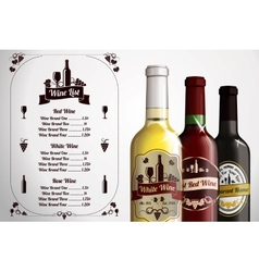 Menu template - for alcohol with three realistic vector image