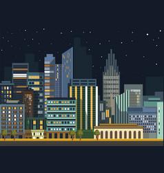Modern urban city landscape flat night vector