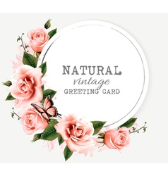 Nature vintage greeting card with beauty flowers vector image vector image