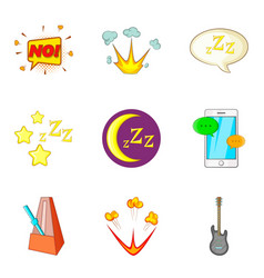 night concert icons set cartoon style vector image vector image