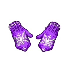 Pair of bright purple winter knitted mittens with vector