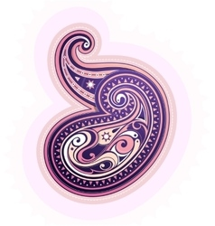 Paisley ornament in ethnic indian style vector