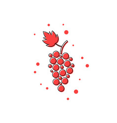 Red thin line grape icon vector