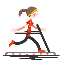 Running woman on conveyor belt flat design sport vector