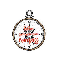 sea compass marine accessory with a quote vector image