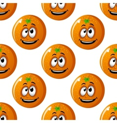 Seamless background pattern of cartoon oranges vector image
