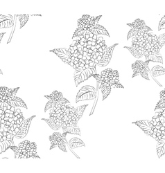 Seamless pattern black and white hydrangea flowers vector