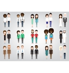 Set of diverse business people vector image