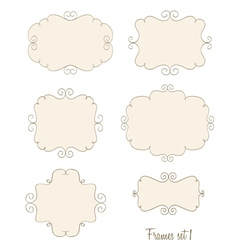 set of simple doodle frames vector image