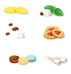 Set of sweets for tea or coffee vector