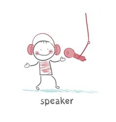 speaker in headphones speaks into a microphone vector image