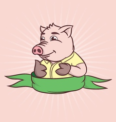 thumbs cartoon pig vector image vector image