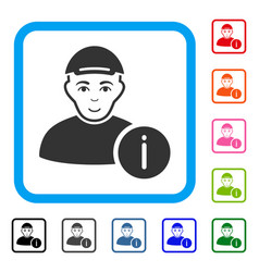 User info framed happy icon vector