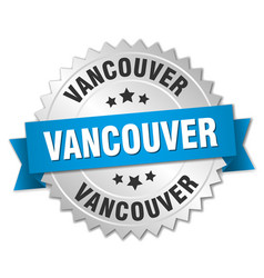 Vancouver round silver badge with blue ribbon vector