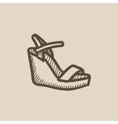 Women platform sandal sketch icon vector image