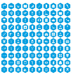 100 medical care icons set blue vector