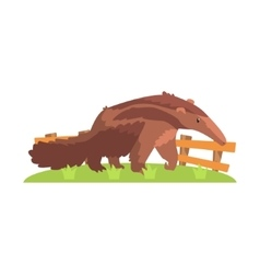 Brown anteater with long snout standing on green vector