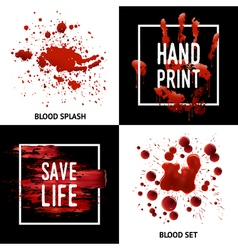 Blood splatters 4 icons square concept vector
