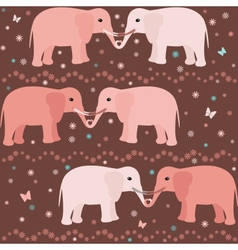 Romantic seamless pattern with elephants vector