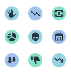 Set of simple crisis icons vector