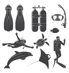Scuba diving gear vector