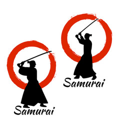 Japanese samurai warriors silhouette vector
