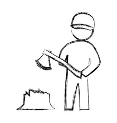 Worker carpenter silhouette vector