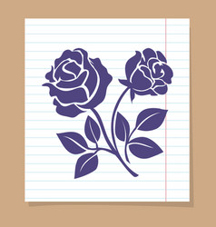 Rose skech on line paper page vector